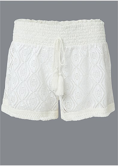 Plus Size Sheer Cover-Up Shorts