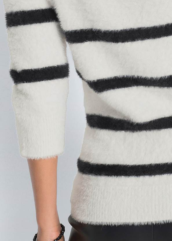 Alternate View Eyelash Turtleneck Striped Sweater