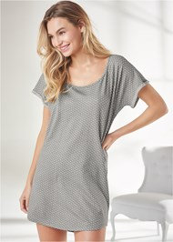 Cropped Front View Printed Sleep Shirt