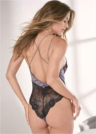 Cropped back view Satin And Lace Bodysuit