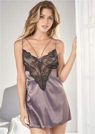 Cropped Front View Satin And Lace Babydoll