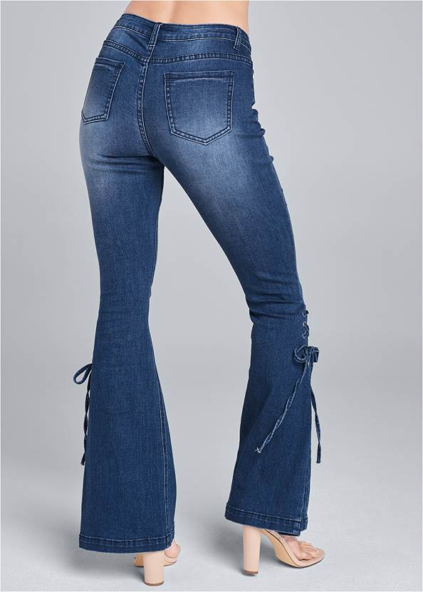 Waist down back view Lace-Up Flare Jeans