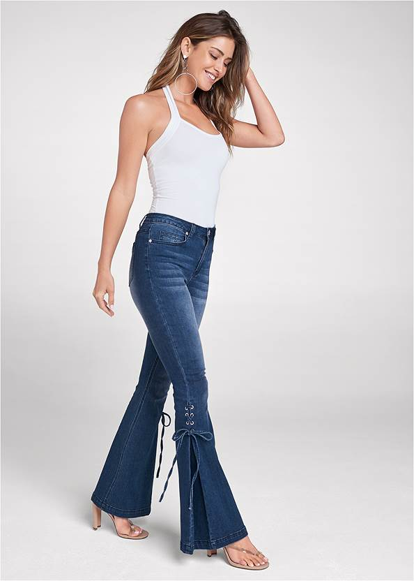 Alternate View Lace-Up Flare Jeans