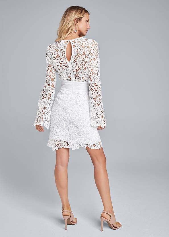 Back View Lace Bell Sleeve Mini Dress