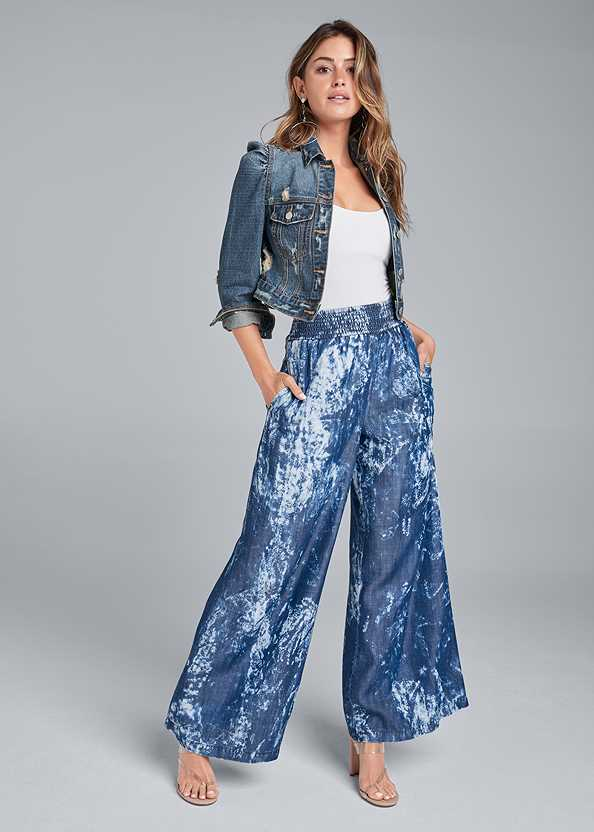 Tie Dye Chambray Pants,Basic Cami Two Pack,Cropped Puff Sleeve Denim Jacket,Lucite Toe Loop Mule