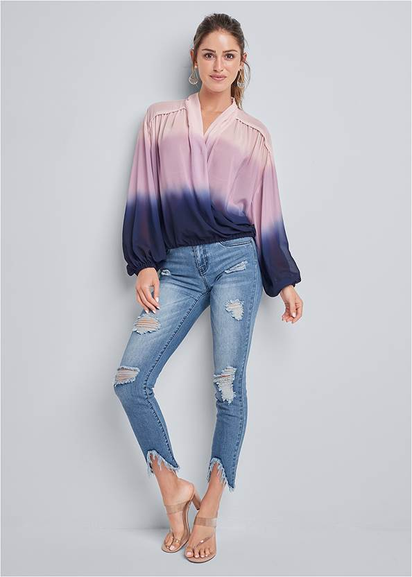 Full front view Ombre Casual Top