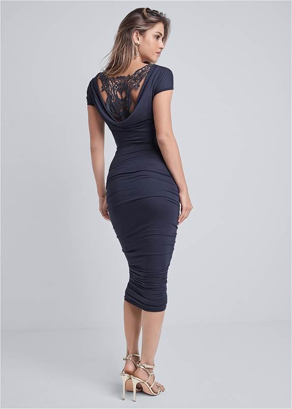 Crochet Cowl Back Dress,Multi Strap Ankle Wrap Heels,Metallic Beaded Earrings