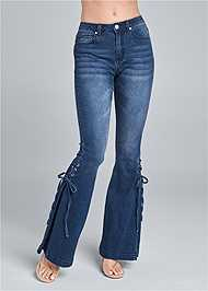 Waist down front view Lace Up Flare Jeans