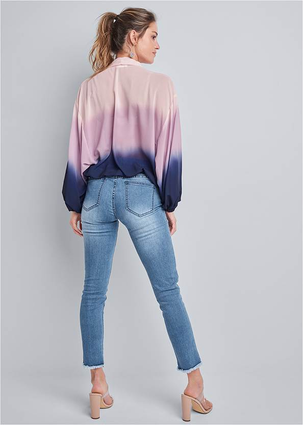 Full back view Ombre Casual Top