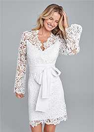 Front View Lace Bell Sleeve Mini Dress