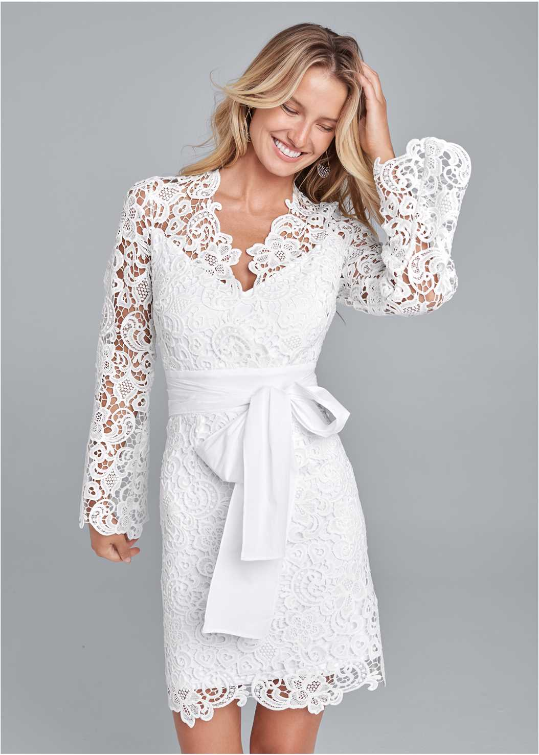 Lace Bell Sleeve Mini Dress,Pearl™ By Venus Perfect Coverage Bra
