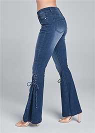 Waist down side view Lace Up Flare Jeans