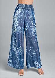 Waist down front view Tie Dye Chambray Pants