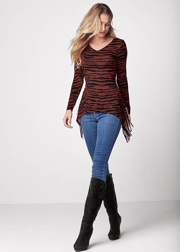 Full front view Fringe Detail Tunic Top