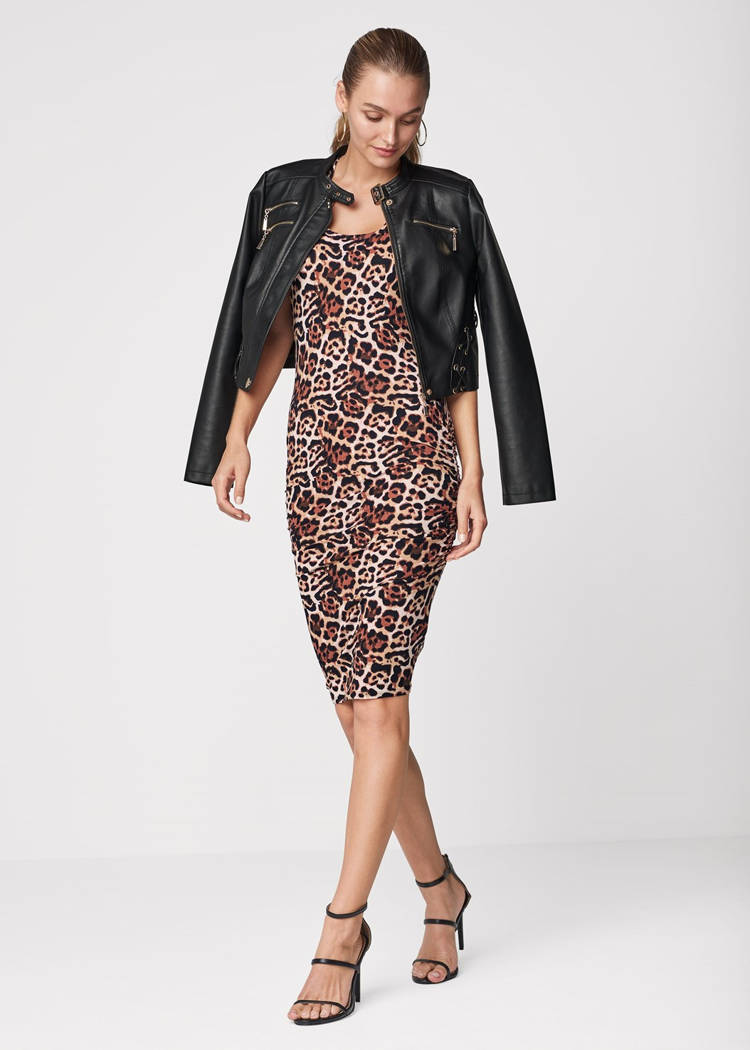 Sleeveless Ruched Bodycon Midi Dress,Faux Leather Lace Up Jacket,High Heel Strappy Sandals,Mixed Earring Set