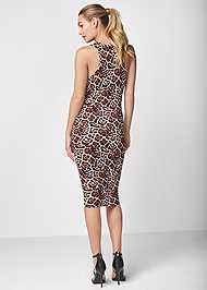 Full back view Sleeveless Ruched Bodycon Midi Dress