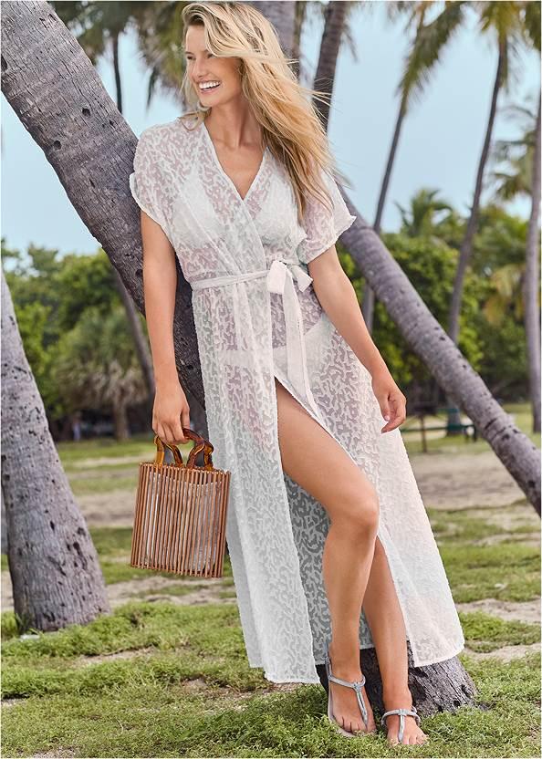 Long Wrap Cover-Up Dress,Triangle String Bikini Top,Scoop Front Classic Bikini Bottom