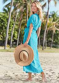 Back View Long Wrap Cover-Up Dress