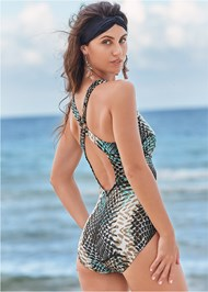 Cropped back view Crisscross One-Piece