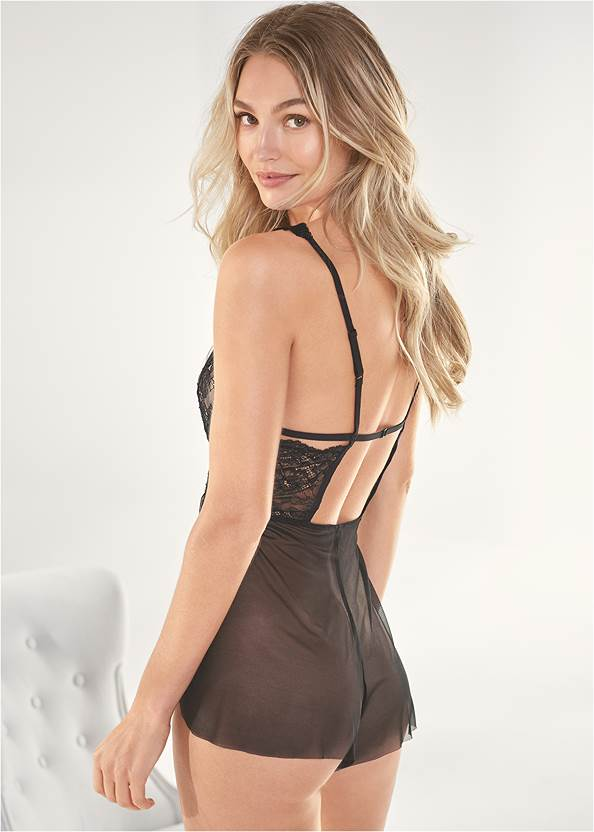 Back View Lace And Mesh Romper