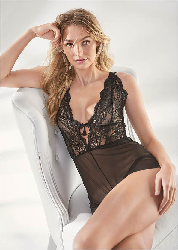 Alternate View Lace And Mesh Romper