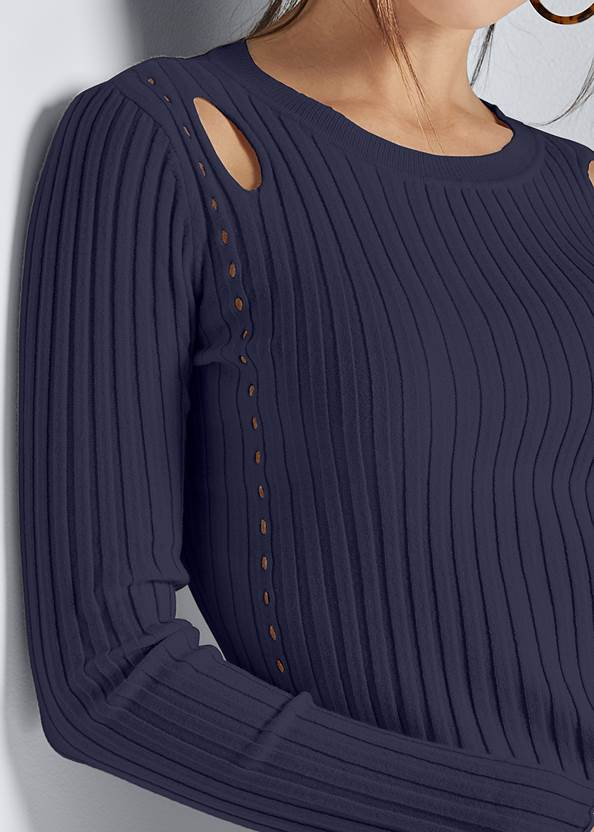 Alternate View Ribbed Cut Out Sweater