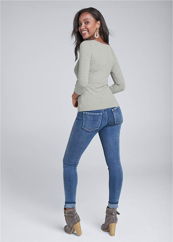 Back View Button Up Henley Top