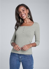 Cropped front view Button Up Henley Top
