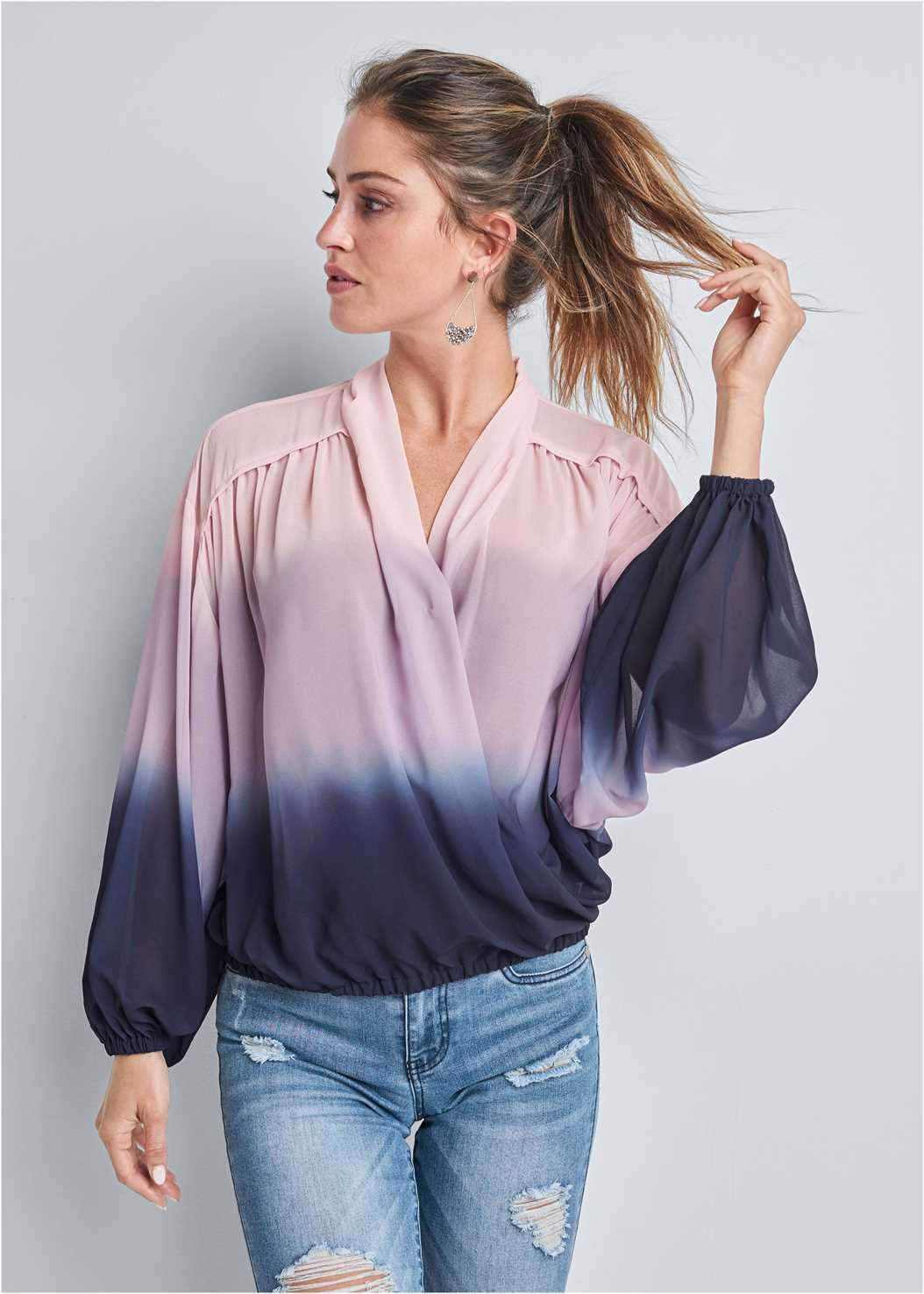 Ombre Casual Top,Triangle Hem Jeans,Square Toe Thong Heel Sandal