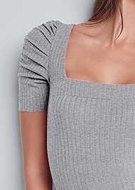 Detail front view Ruched Sleeve Ribbed Dress
