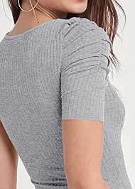Detail back view Ruched Sleeve Ribbed Dress