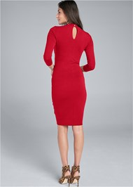 Full back view Mock Neck Midi Dress