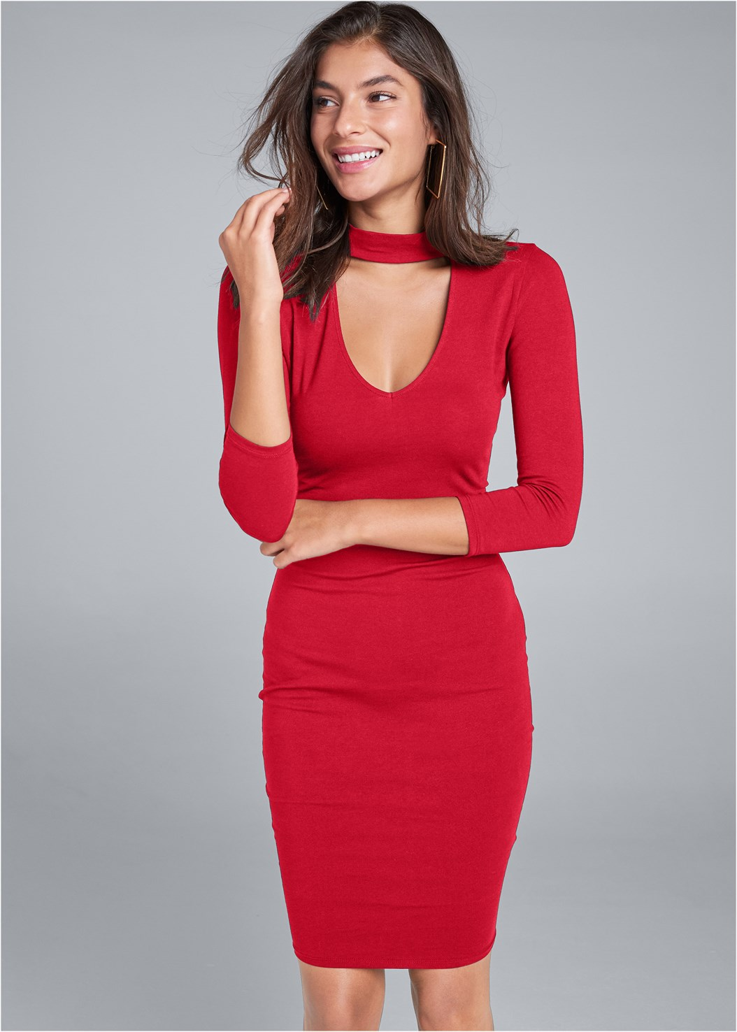Mock Neck Midi Dress,Seamless Unlined Bra,Peep Toe Print Heels,Square Hoop Earrings