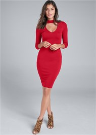 Full front view Mock Neck Midi Dress