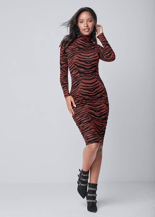 Long Sleeve Ruched Dress,Wirefree Comfort Bra,Buckle Detail Booties,Beaded Tassel Earrings
