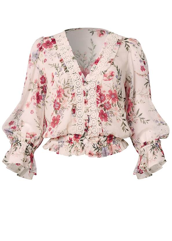 Ghost with background  view Floral Print Top