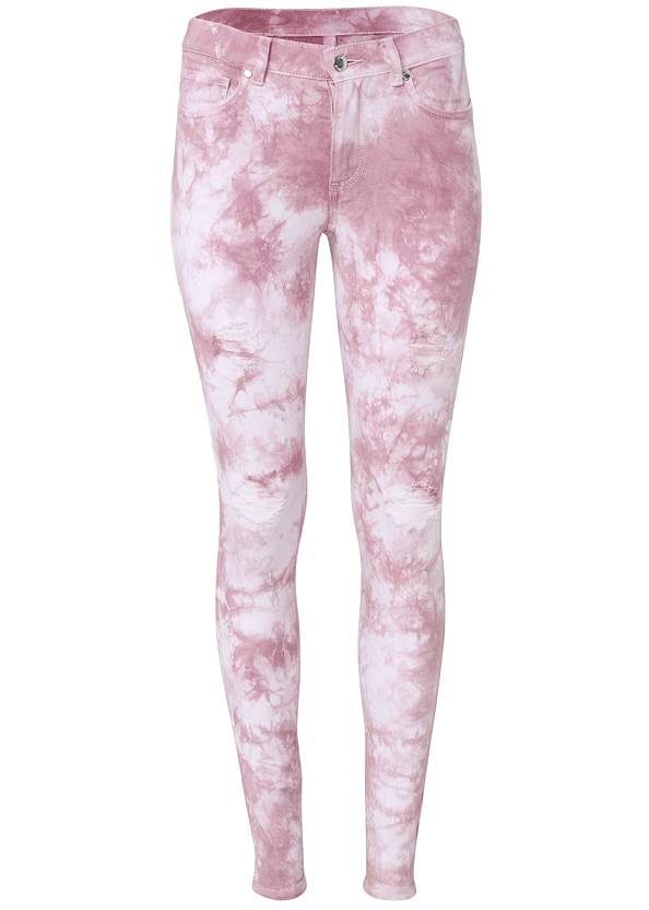 Ghost with background  view Ripped Tie Dye Skinny Jeans