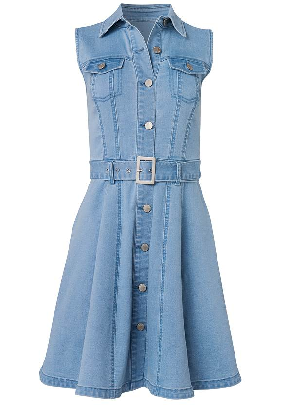 Ghost with background  view Belted A-Line Denim Dress