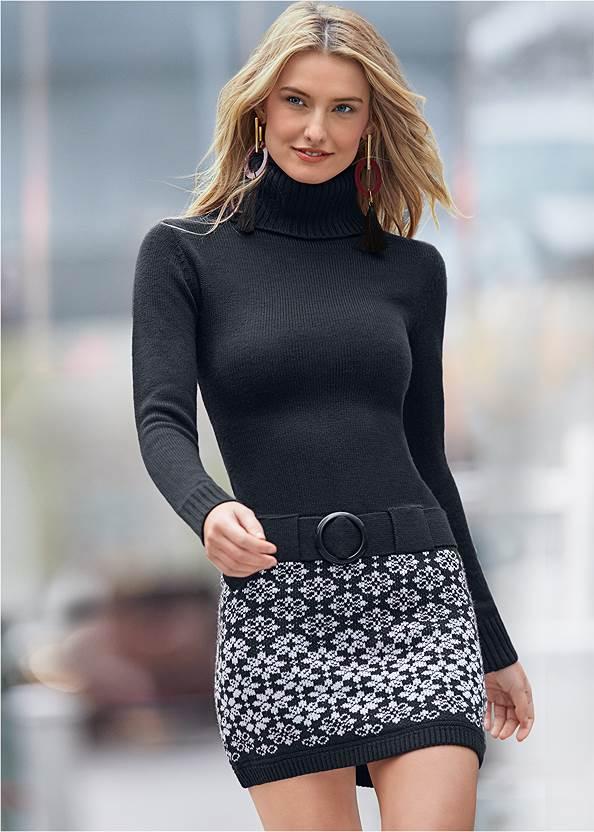 Belted Sweater Dress,Beaded Tassel Earrings,Studded Faux Leather Tote