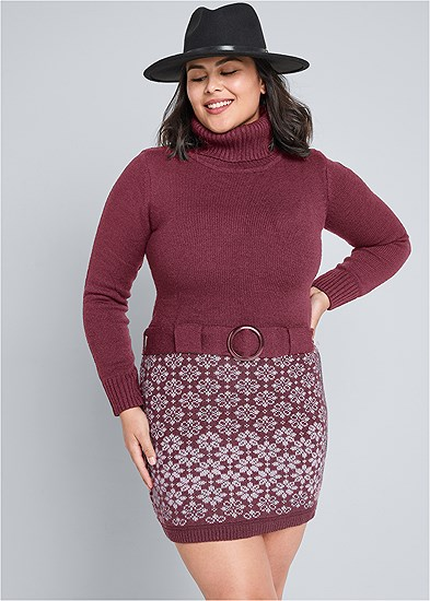 Plus Size Belted Sweater Dress