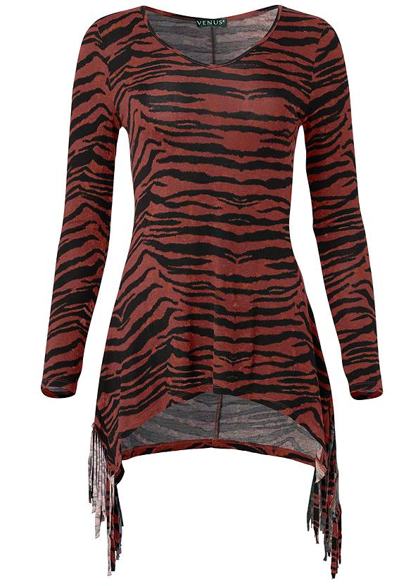 Ghost with background  view Fringe Detail Tunic Top