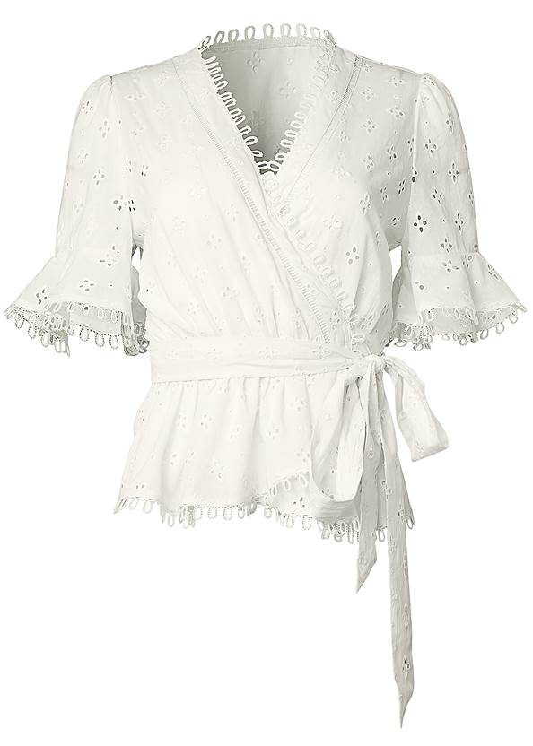 Ghost with background  view Eyelet Wrap Top