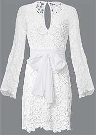 Ghost with background  view Lace Bell Sleeve Mini Dress