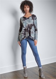 Full front view Casual Waffle Knit Top