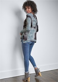 Full back view Casual Waffle Knit Top