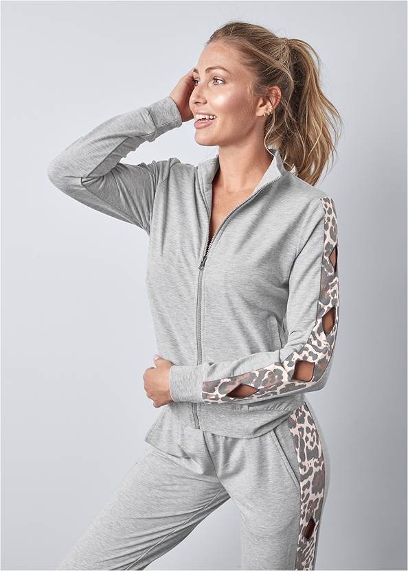 Front View Leopard Cut-Out Jacket