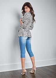 Back View Belted Zebra Print Blazer