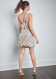 Back View Sequin Halter Mini Dress