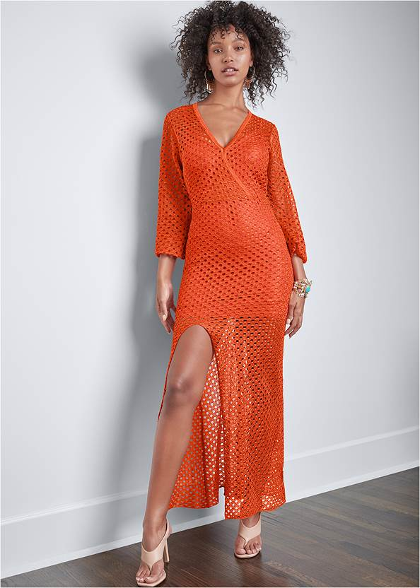 Full front view Open Knit Maxi Sweater Dress
