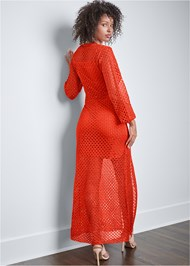 Full back view Open Knit Maxi Sweater Dress